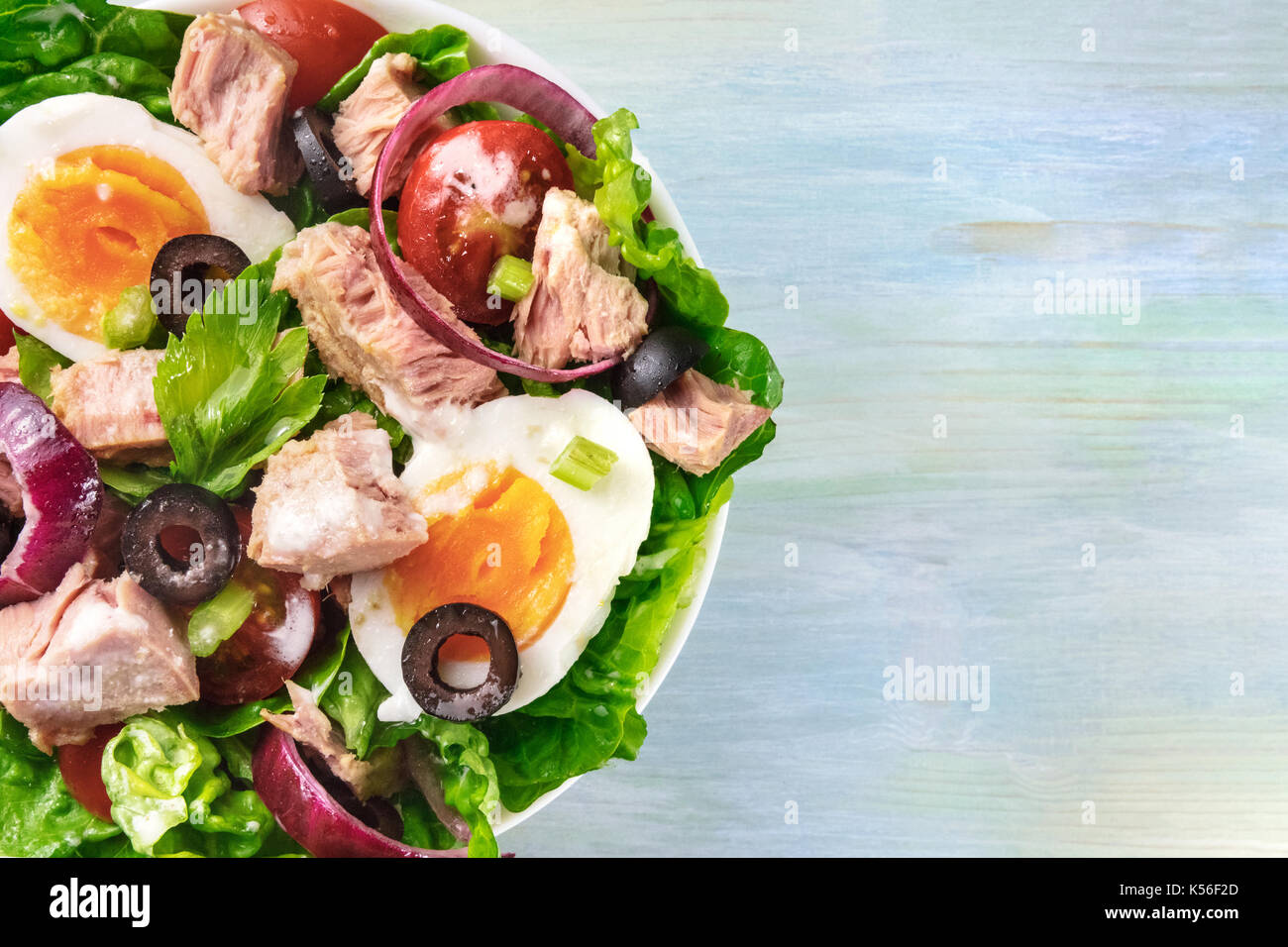 Closeup of tuna salad, top view, with copy space - Stock Image