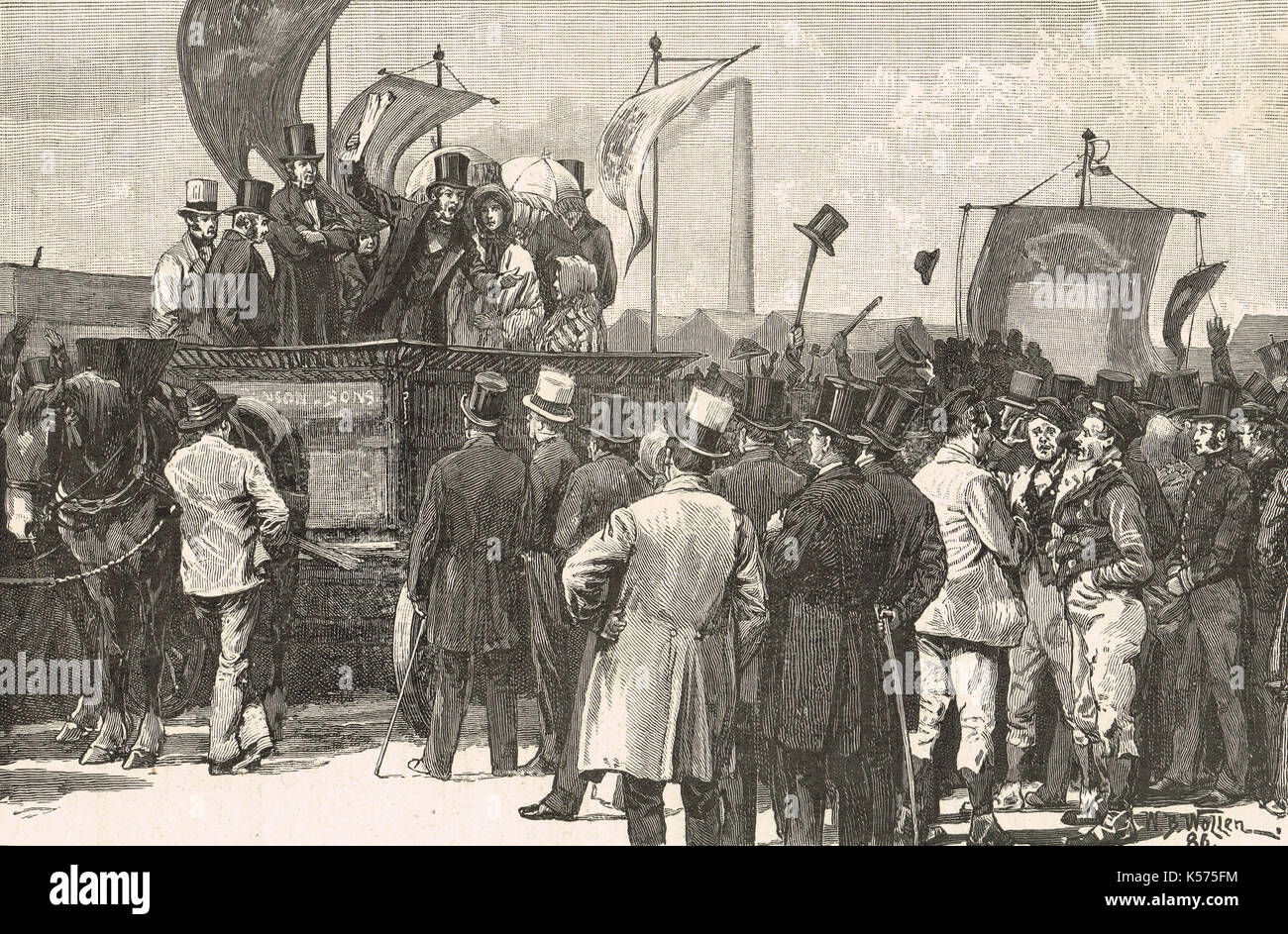 Chartist demonstration, Kennington common, 10 April 1848 - Stock Image