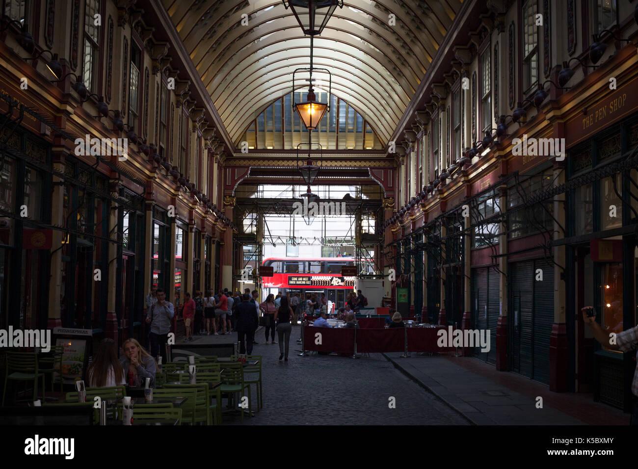 Lights in Leadenhall Market, London, England - Stock Image