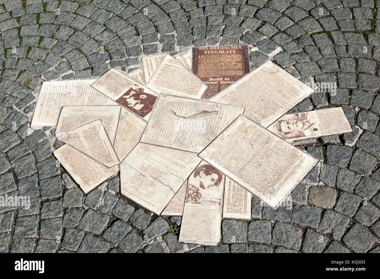 White Rose Pavement Memorial, Munich - Stock Image