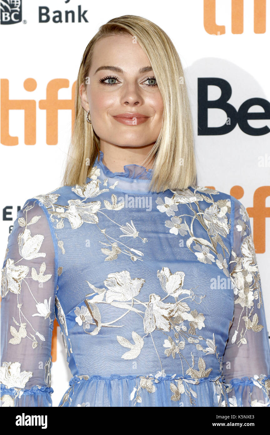 Margot Robbie attending the 'I, Tonya' premiere during the 42nd Toronto International Film Festival at Princess Stock Photo