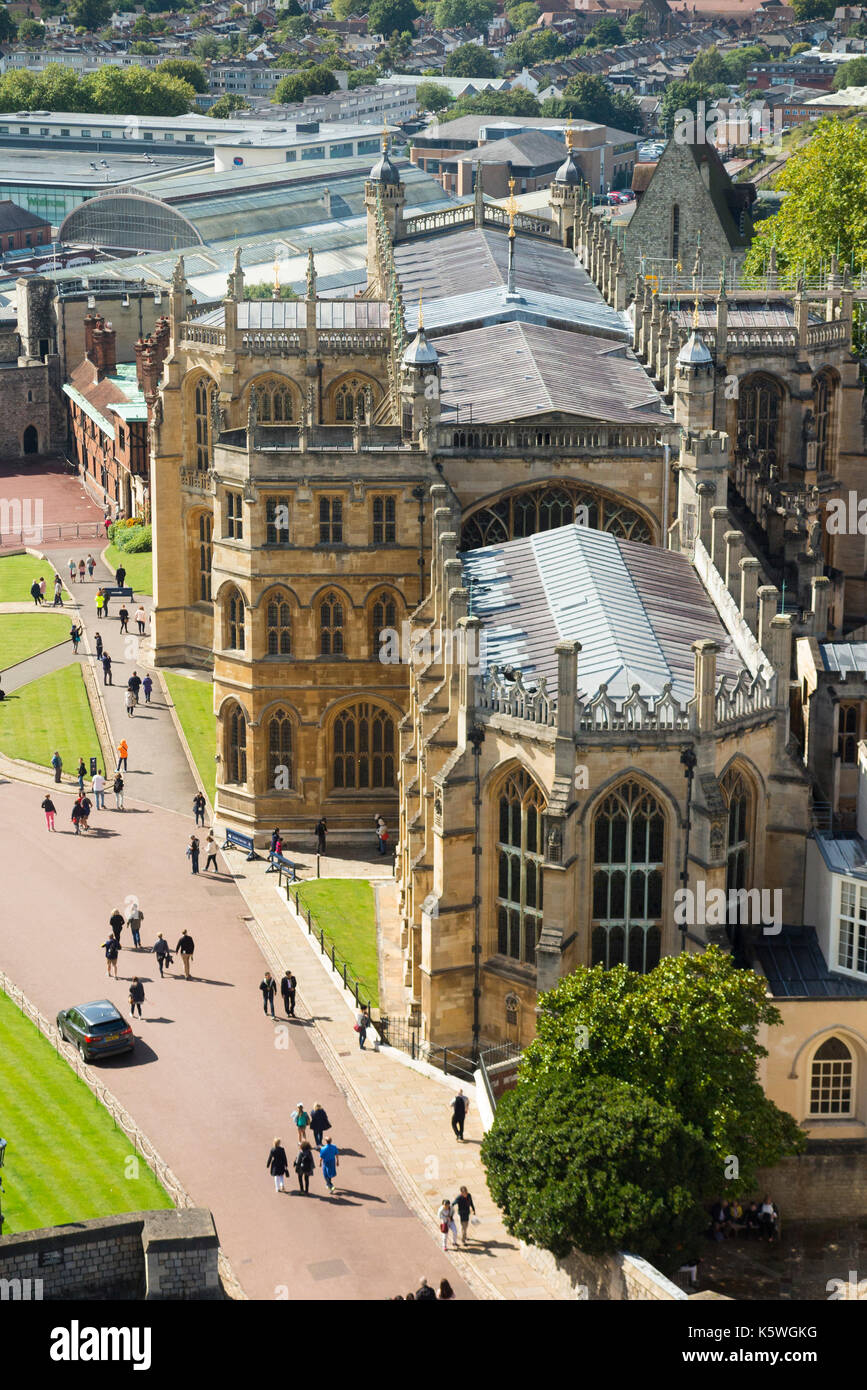 View of the Lower Ward of Windsor Castle including Saint Georges Chapel including its defensive walls & towers, - Stock Image