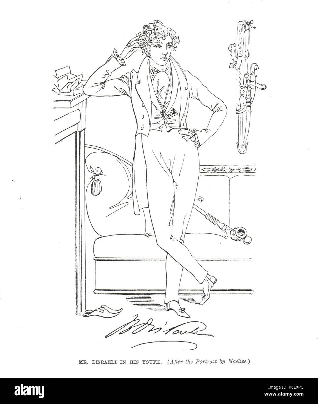 Benjamin Disraeli as a young man, circa 1833 - Stock Image