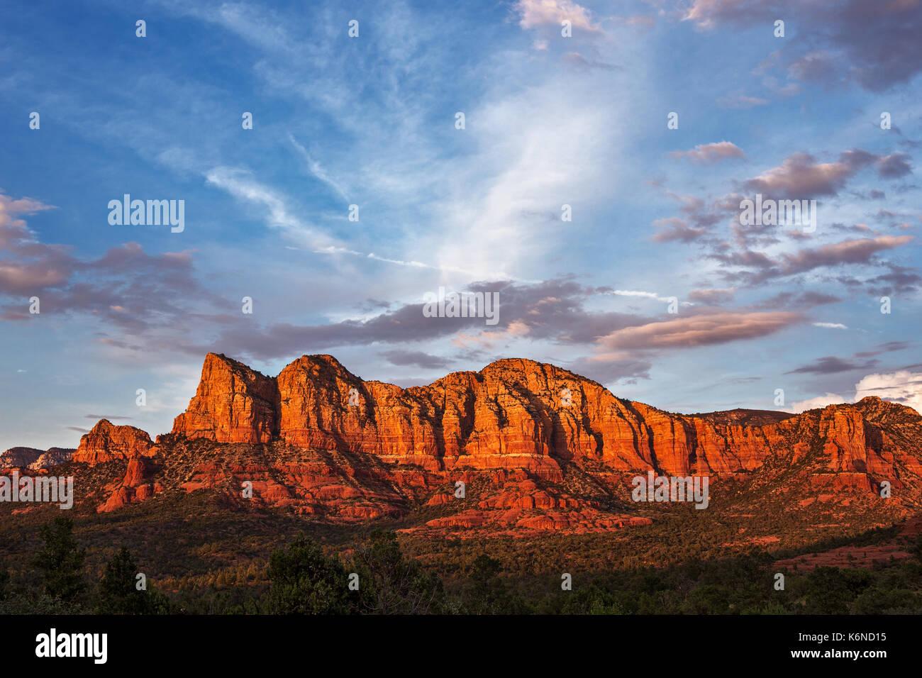 Sunset over the red rocks in Sedona, Arizona Stock Photo
