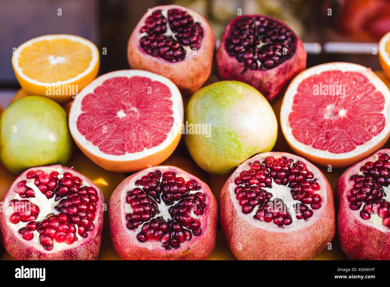 Mix tropic citrus fruits background.Fresh fruits close up.Healthy eating, dieting concept, clean eating. Making - Stock Image