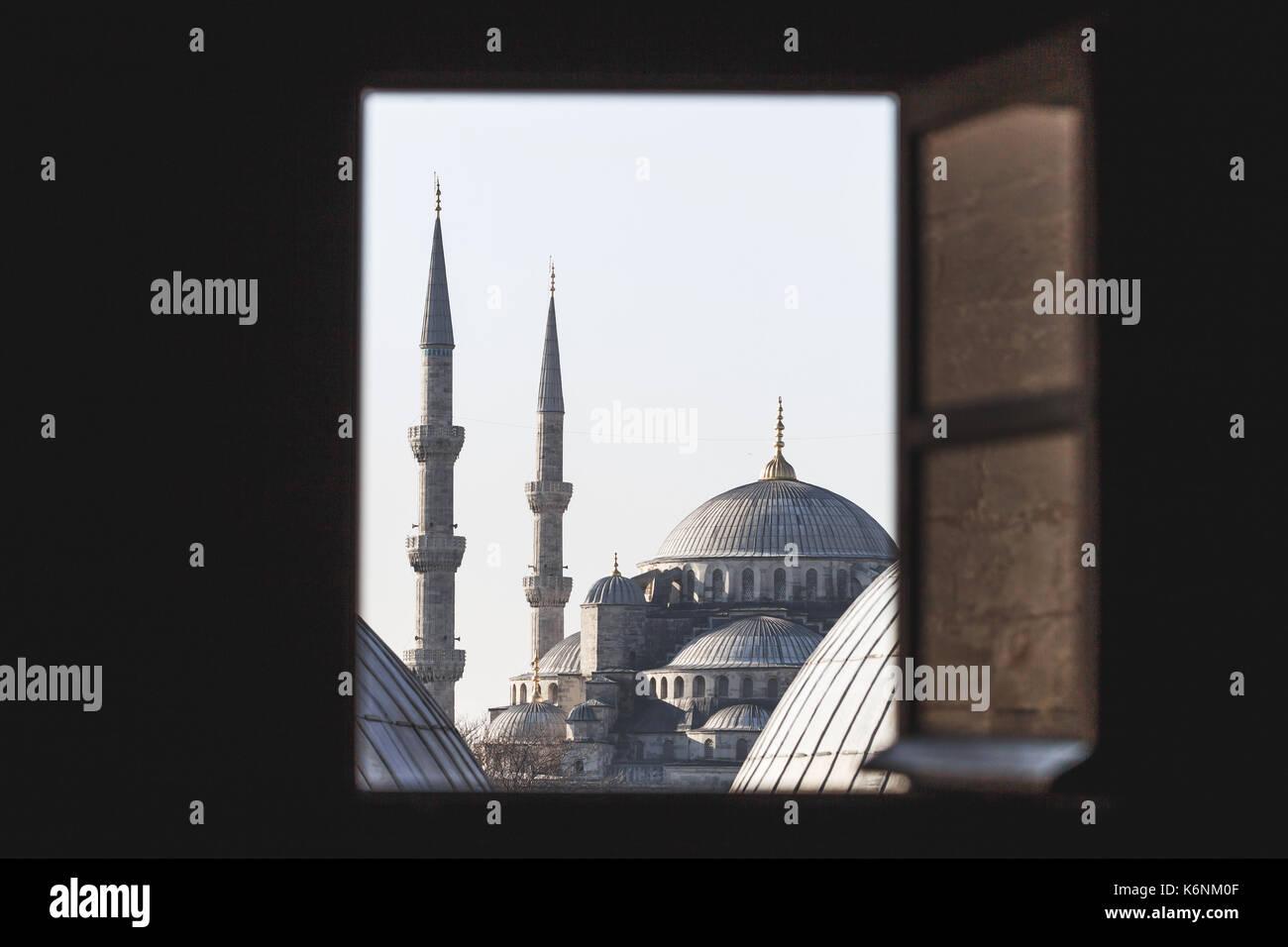 View of the Blue Mosque through the windows Hagia Sophia - Stock Image