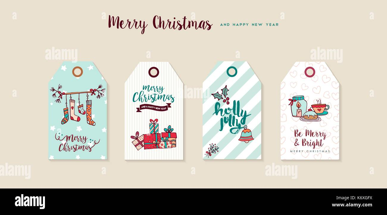 merry christmas happy new year hand drawn label tag set includes xmas socks gift boxes holiday decoration and typography quotes eps10 vector