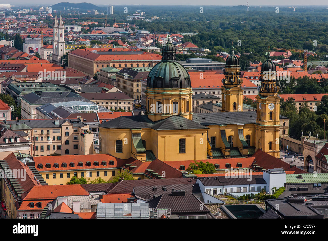 Cityscape of Munich with Theatine Church, a view from Frauenkirche - Stock Image