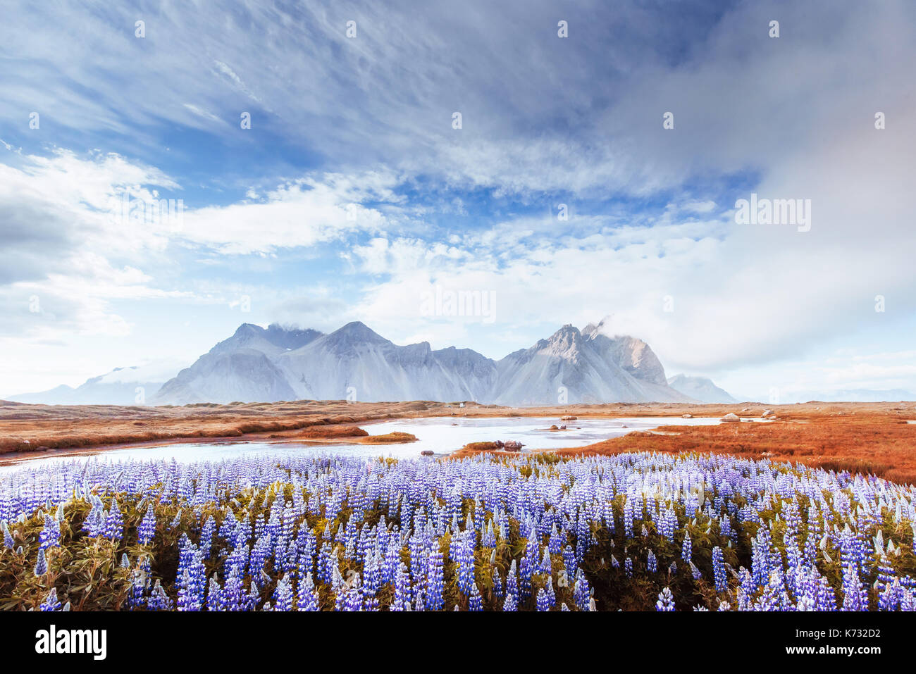 Picturesque views of the river and mountains in Iceland. - Stock Image