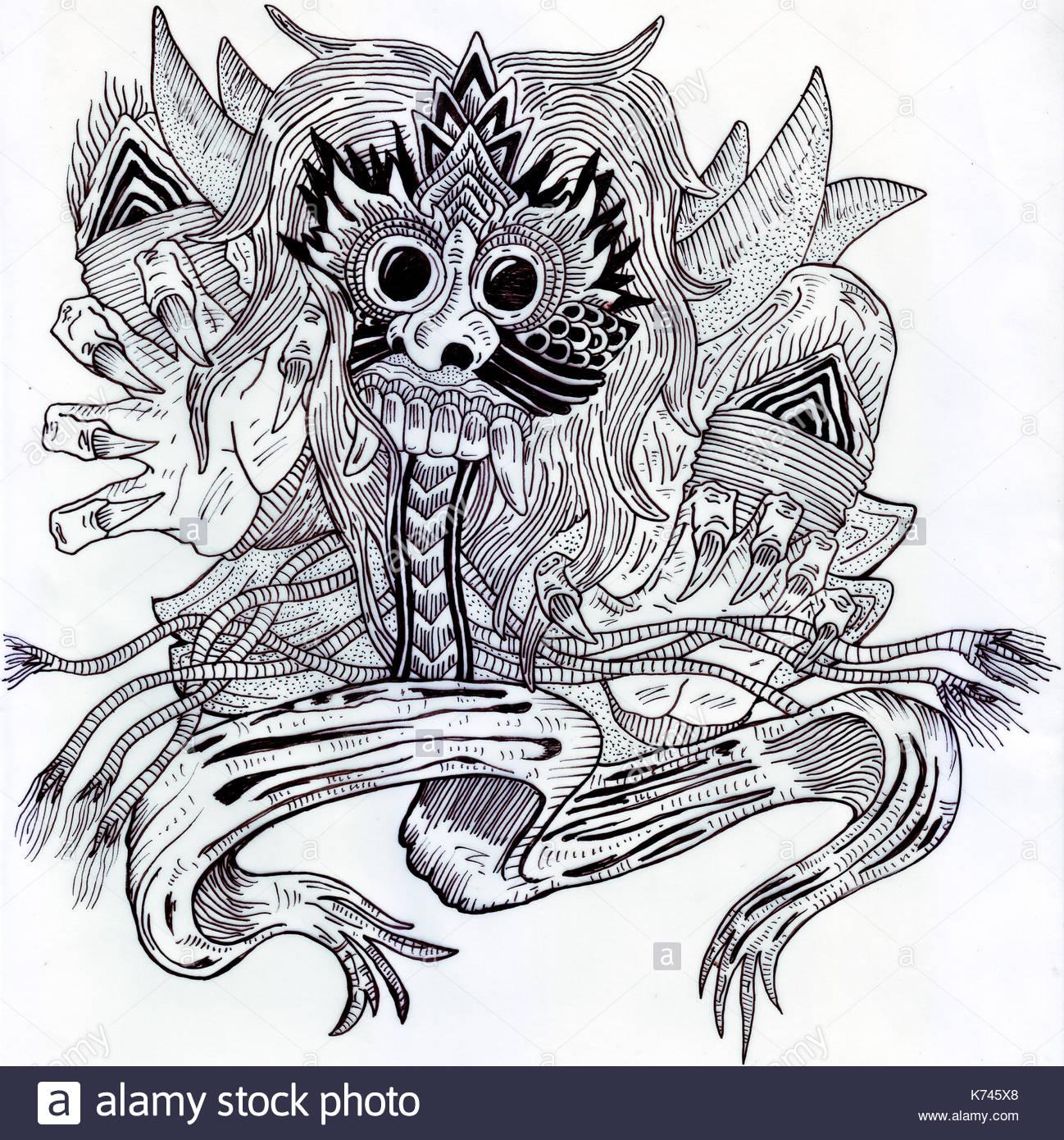 Sketch of Barong Bali, Indonesia. - Stock Image