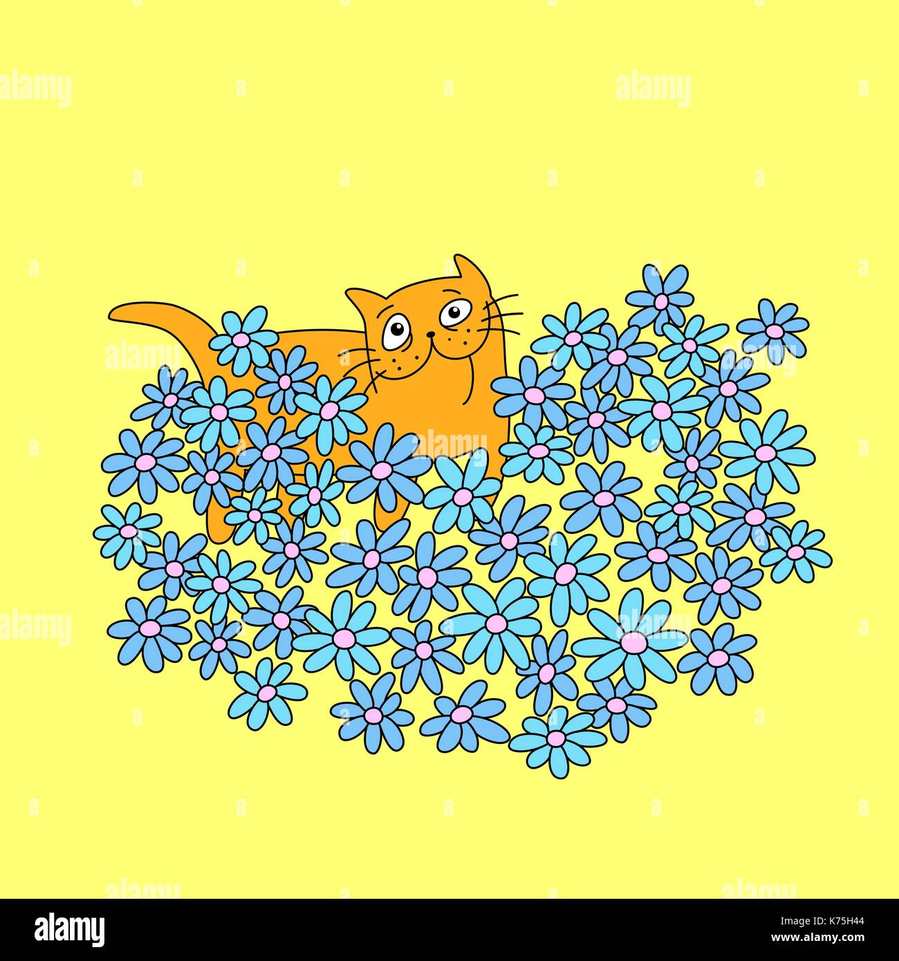 Cat with a bouquet of flowers in heart shape funny cartoon cool cat with a bouquet of flowers in heart shape funny cartoon cool love character yellow color background vector illustration izmirmasajfo Choice Image