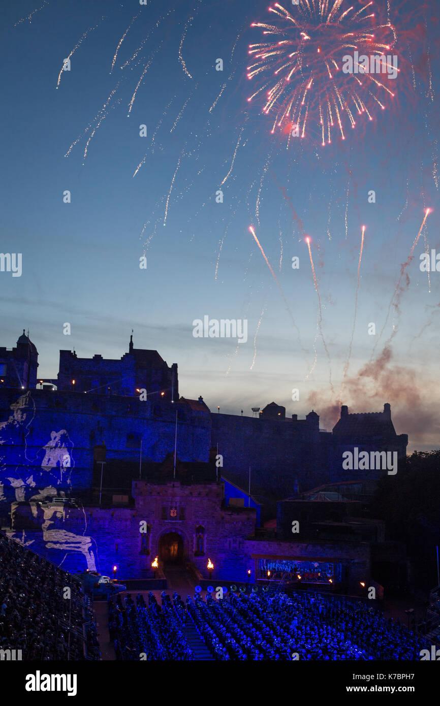Edinburgh Royal Tattoo in front of Edinburgh Castle, in Edinburgh, in Scotland, on 15 September 2017. - Stock Image