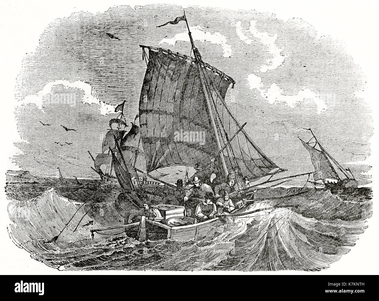 Old illustration of French fishermen angling for meckerel. By unidentified author, publ. on The Penny Magazine, - Stock Image