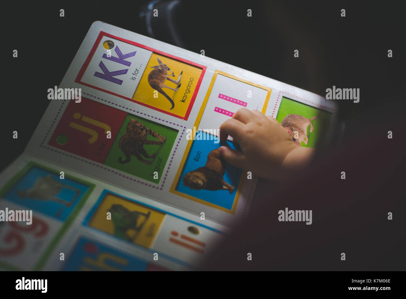 A toddler reads a children's book. - Stock Image