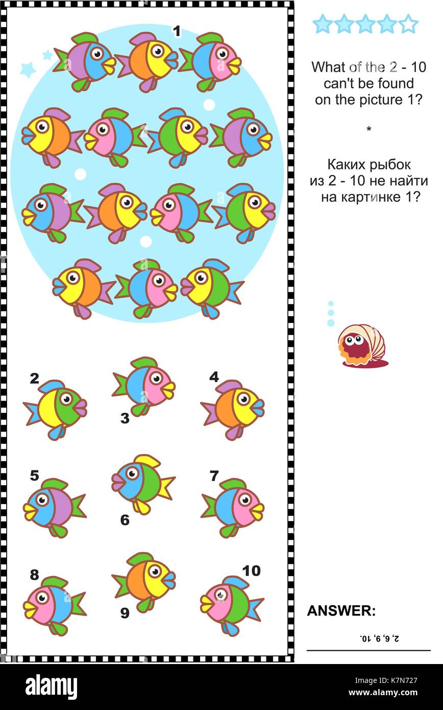 Colorful fish visual logic puzzle: What of the 2 - 10 can not be found on the picture 1? Answer included. - Stock Image