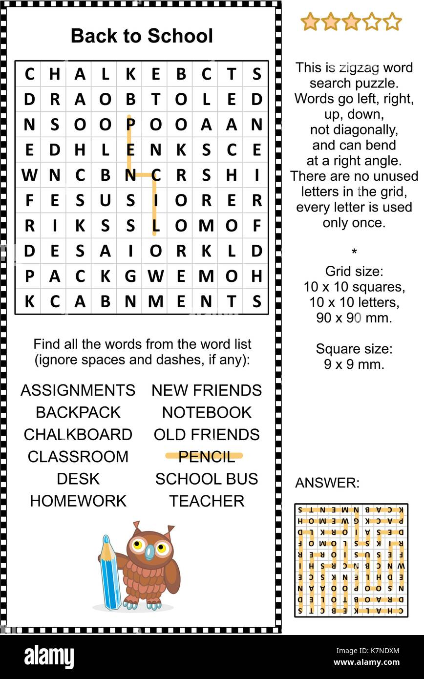 Back to school themed word search puzzle. Answer included. - Stock Image