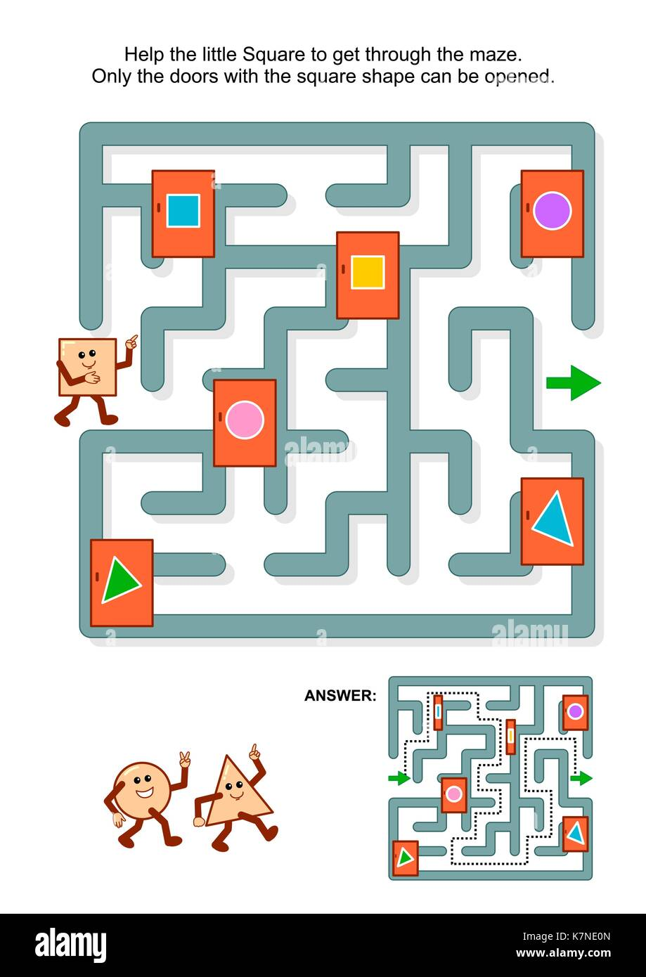 Educational math puzzle: Help the little square to get through the maze. Only the doors with square shape can be - Stock Image