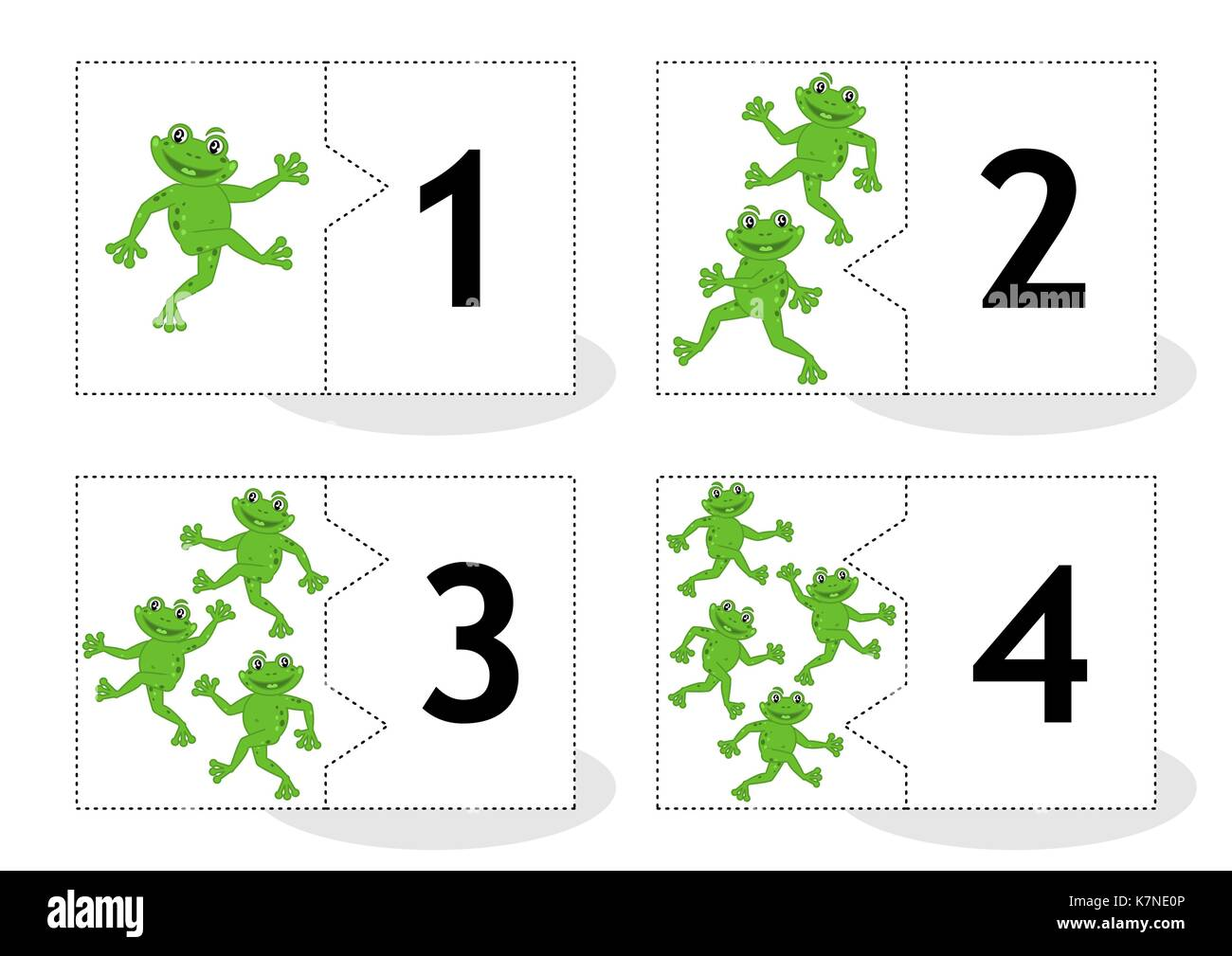 Learn counting 2-part puzzle cards to cut out and play, frogs themed, numbers 1 - 4 - Stock Image