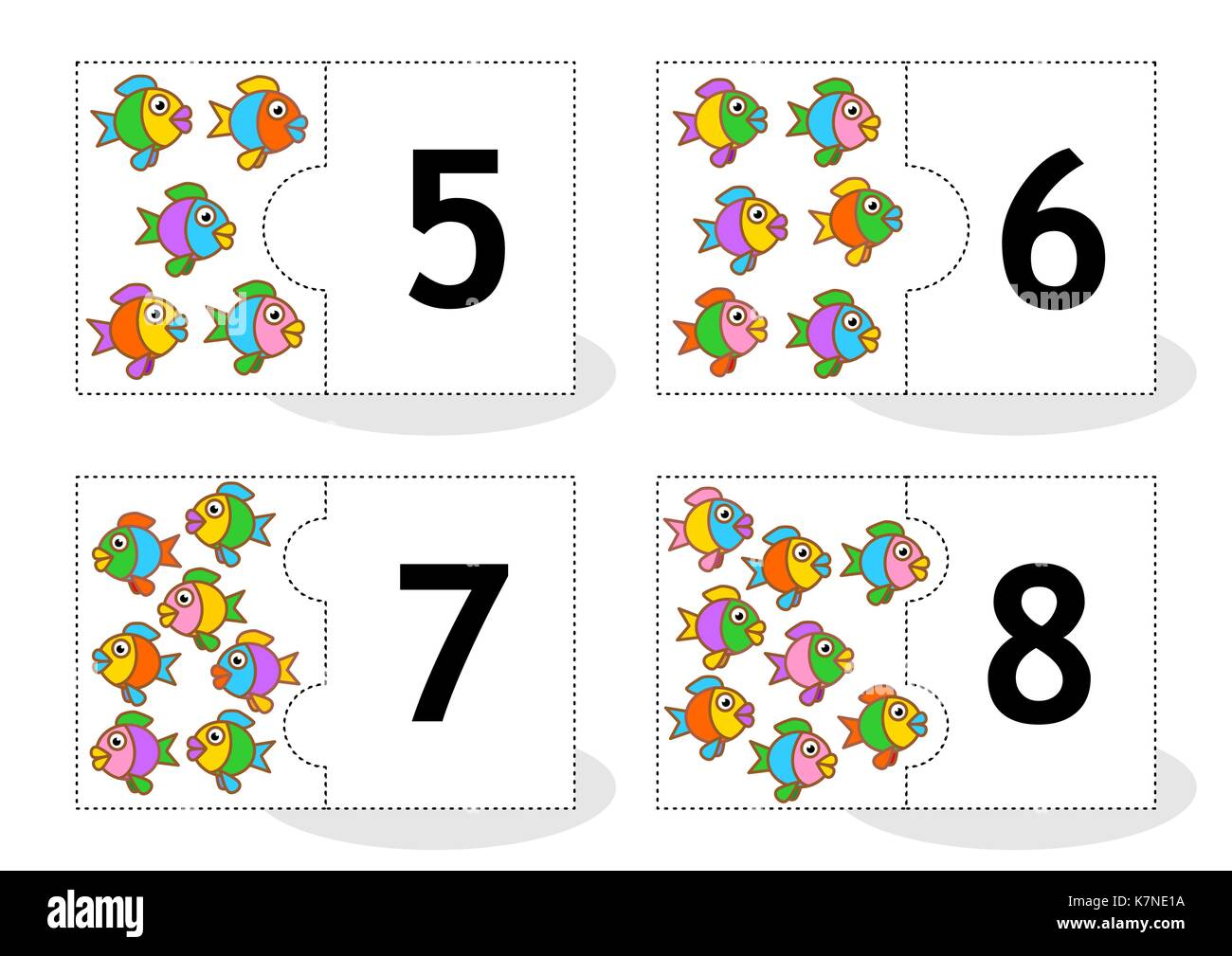 Learn counting 2-part puzzle cards to cut out and play, fish themed, numbers 5 - 8 - Stock Image