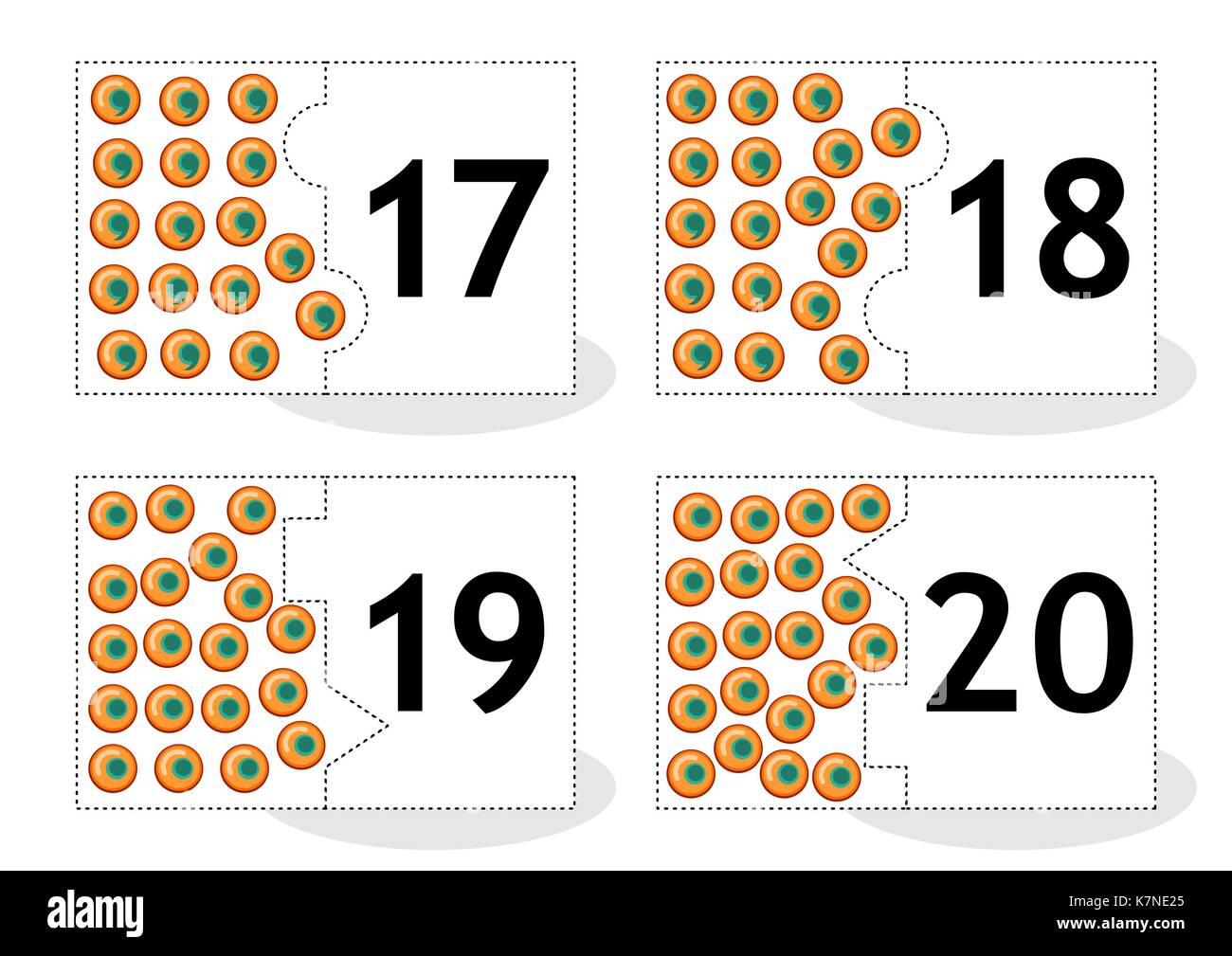Learn counting 2-part puzzle cards to cut out and play, frog eggs themed, numbers 17 - 20 - Stock Image