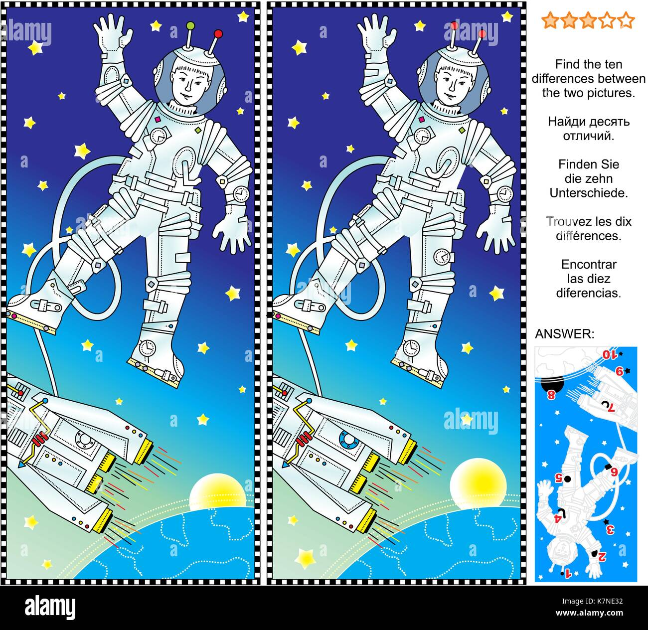 Picture puzzle: Find the ten differences between the two pictures of outer space, cosmonaut or astronaut, spaceship, - Stock Image