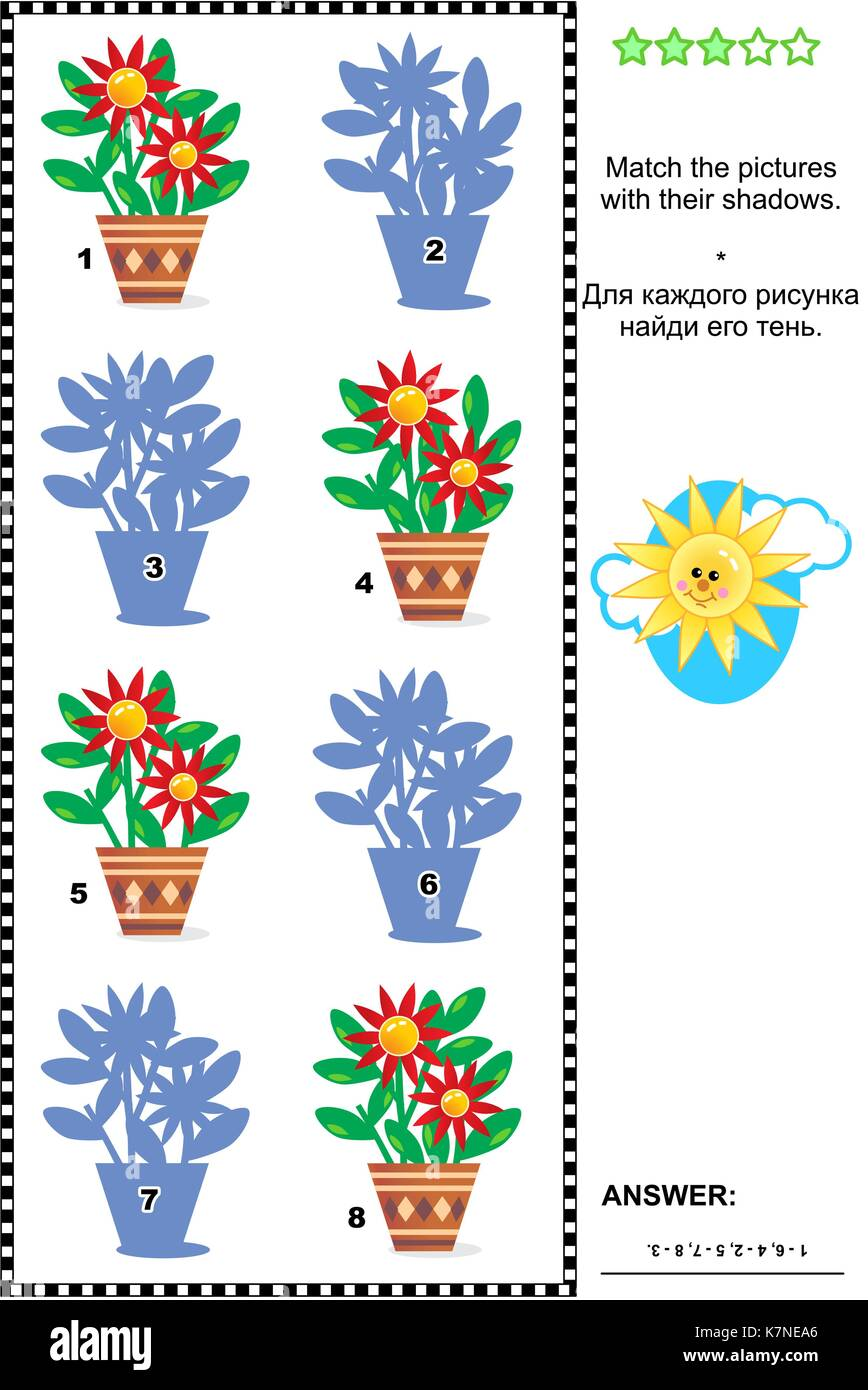 Visual puzzle: Match the pictures of flowers in pots to their shadows. Answer included. - Stock Image