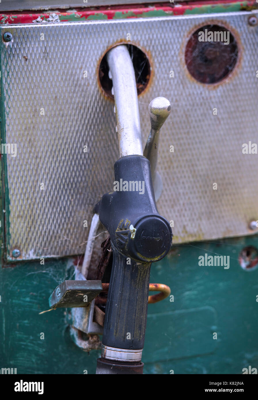 Detail of an old, disused petrol pump - Stock Image