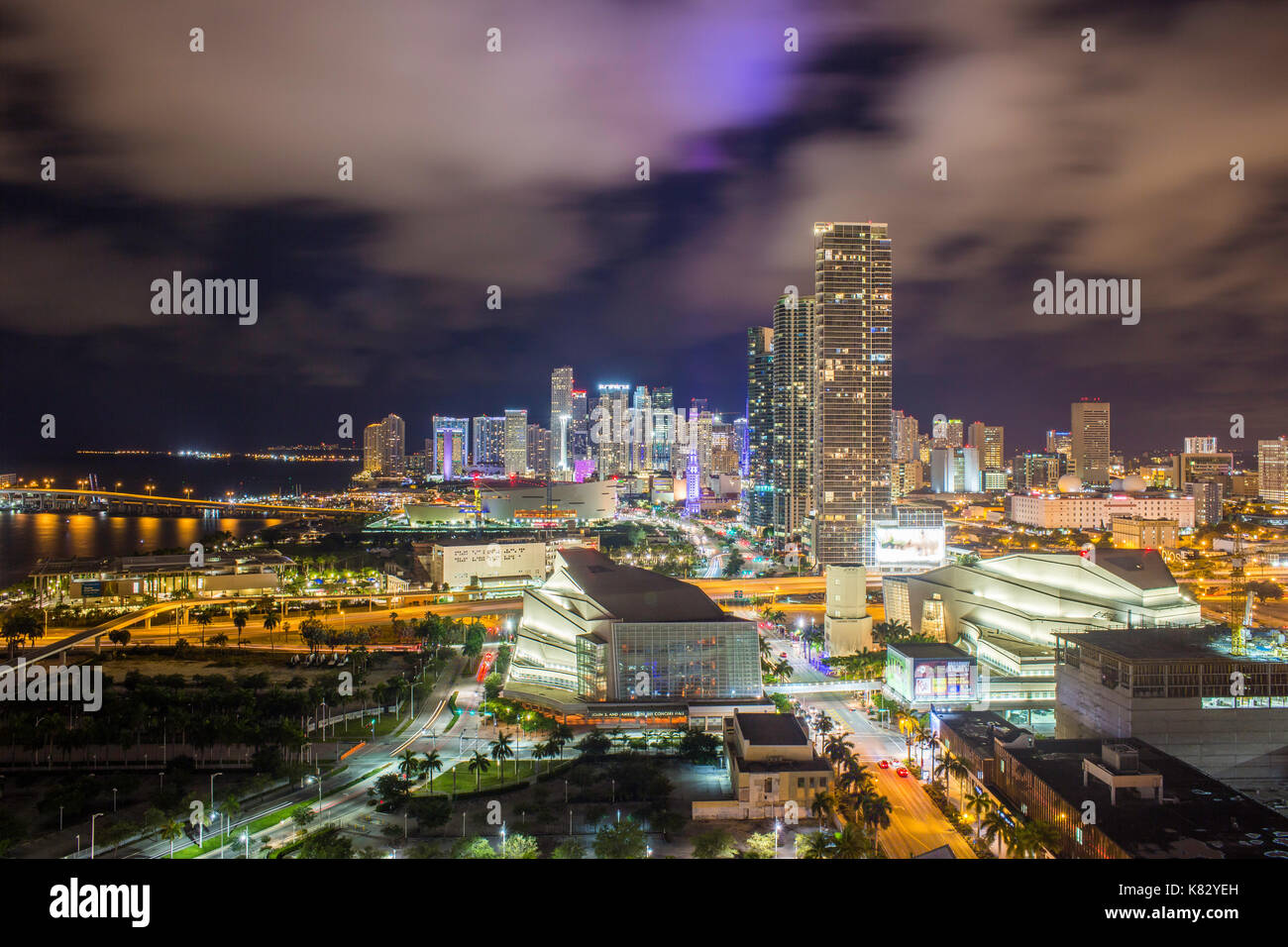 Elevated view over Biscayne Boulevard and the skyline of Miami, Florida, USA - Stock Image