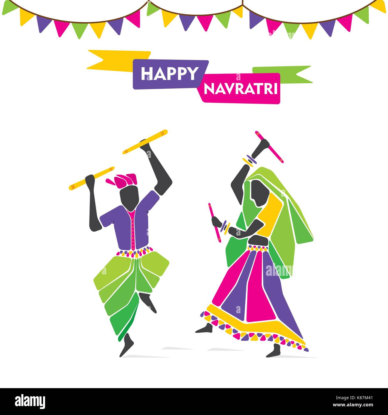 happy navratri playing dandiya dance poster design stock