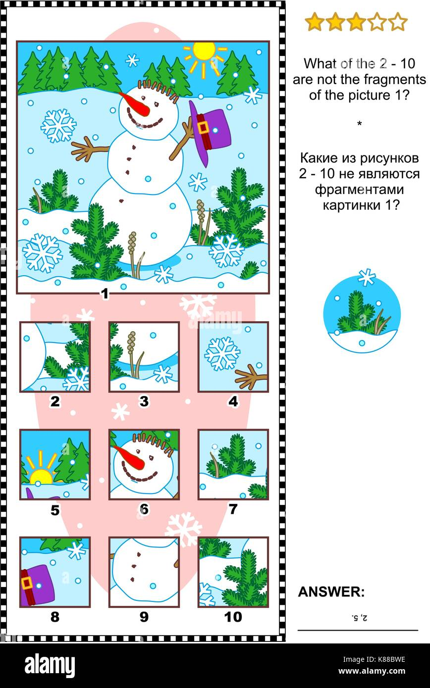 Christmas, winter or New Year visual logic puzzle with snowman: What of the 2 - 10 are not the fragments of the - Stock Image