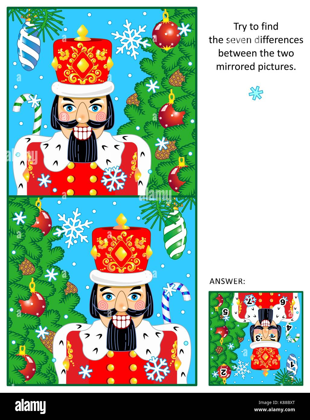 New Year or Christmas visual puzzle: Find the seven differences between the two mirrored pictures of nutcracker, - Stock Image