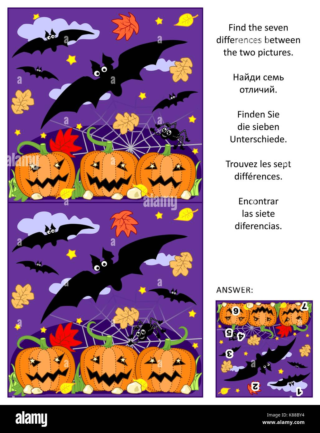 Halloween themed visual puzzle: Find the seven differences between the two pictures of flying bats, pumpkin field, - Stock Image