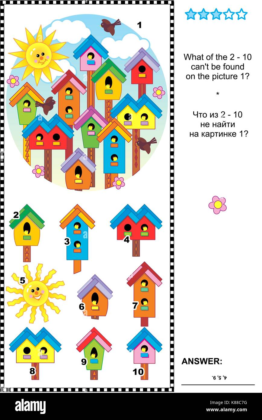 Spring birdhouses visual logic puzzle: What of the 2 - 10 can't be found on the picture 1? Answer included. - Stock Image