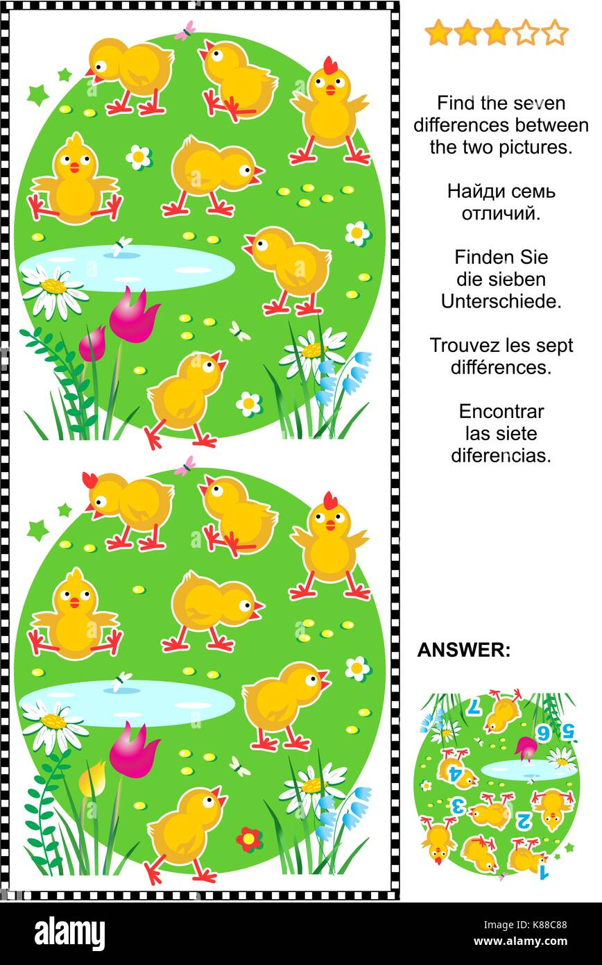 Picture puzzle: Find the seven differences between the two pictures of cute little chicks. Answer included. - Stock Image