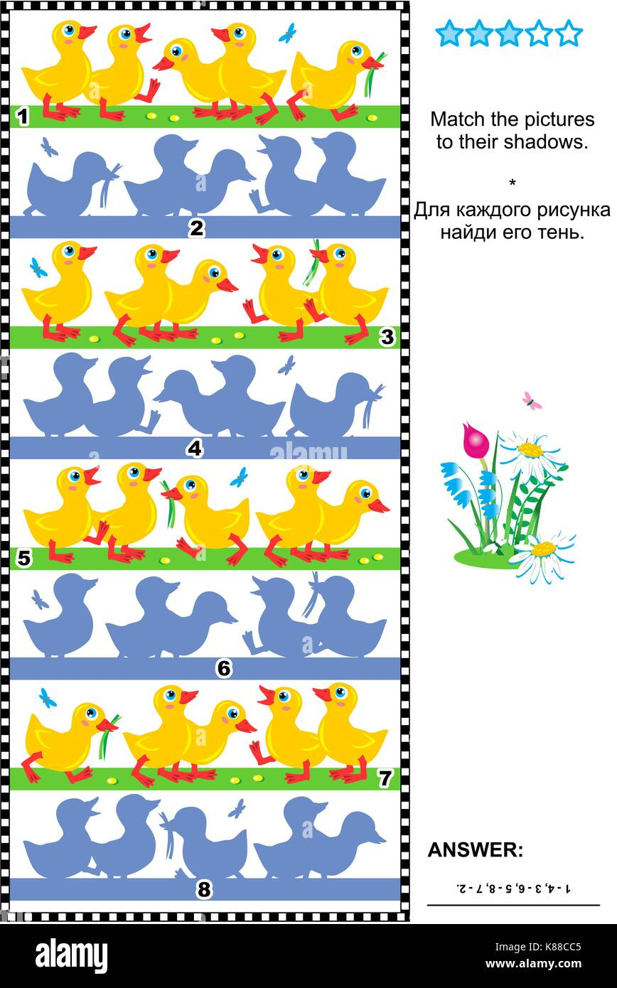 Visual puzzle or picture riddle: Match the pictures of little ducklings to their shadows. Answer included. - Stock Image