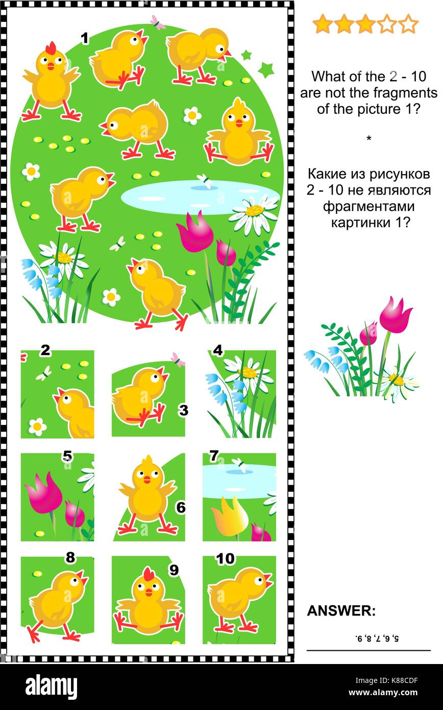 Visual logic puzzle with cute little chicks: What of the 2 - 10 are not the fragments of the picture 1? Answer included. - Stock Image
