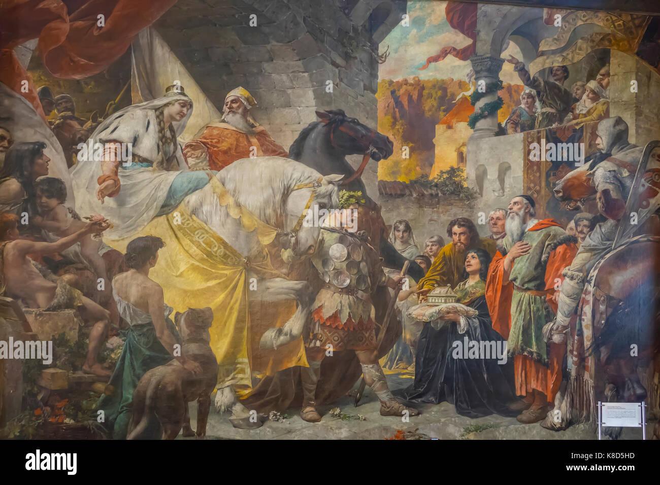 Germany, Lower Bavaria, Passau, Rathaus interior, Nibelungs Saga painting in hall - Stock Image
