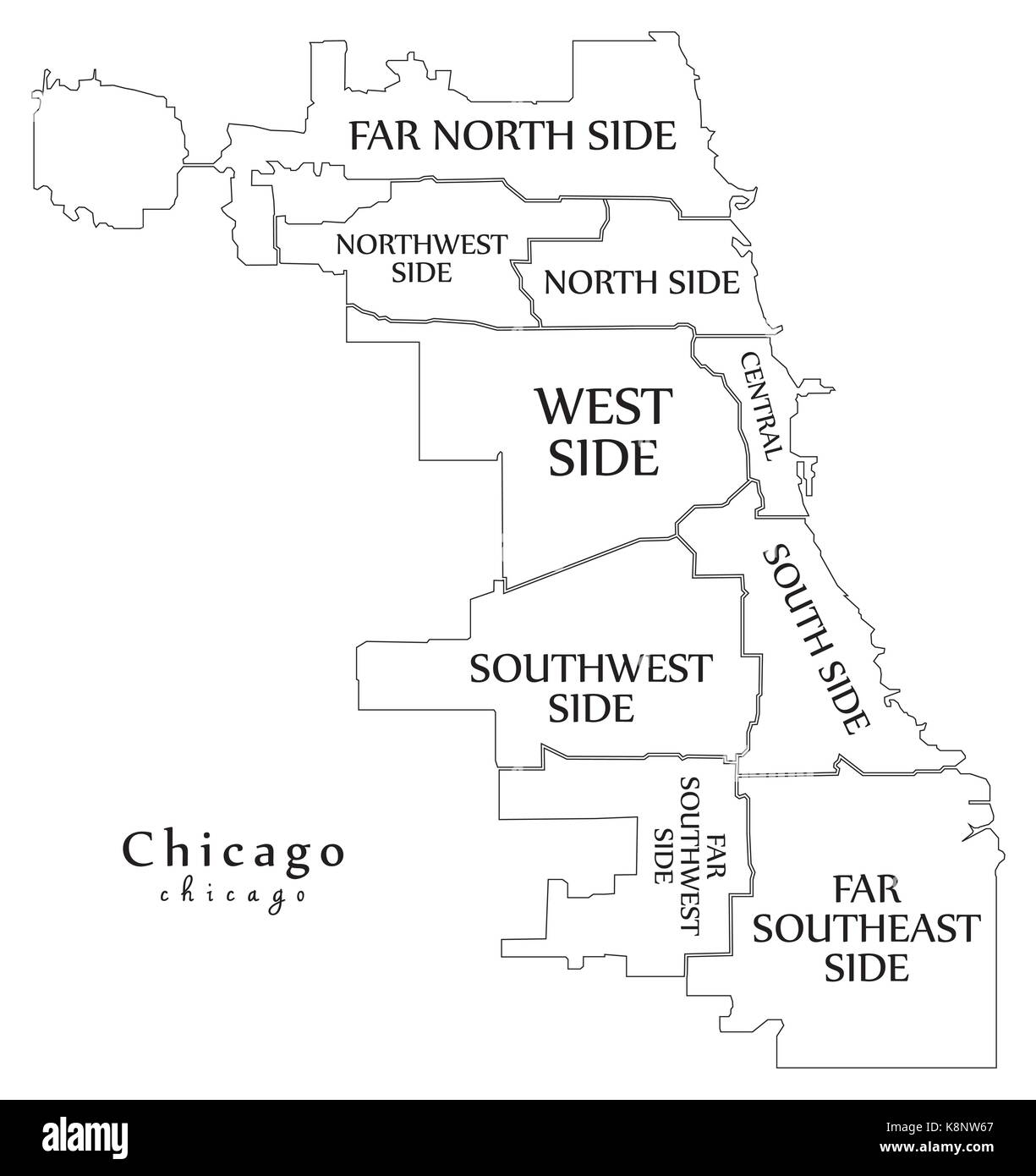 Modern City Map - Chicago city of the USA with boroughs and titles ...