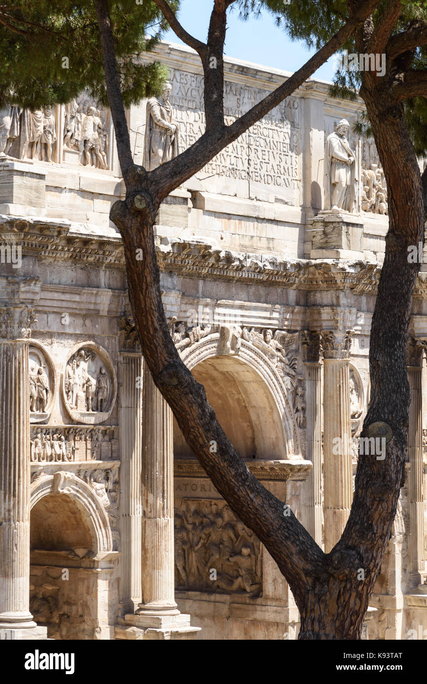 Arch of Constantine, South Side, Rome, Italy - Stock Image