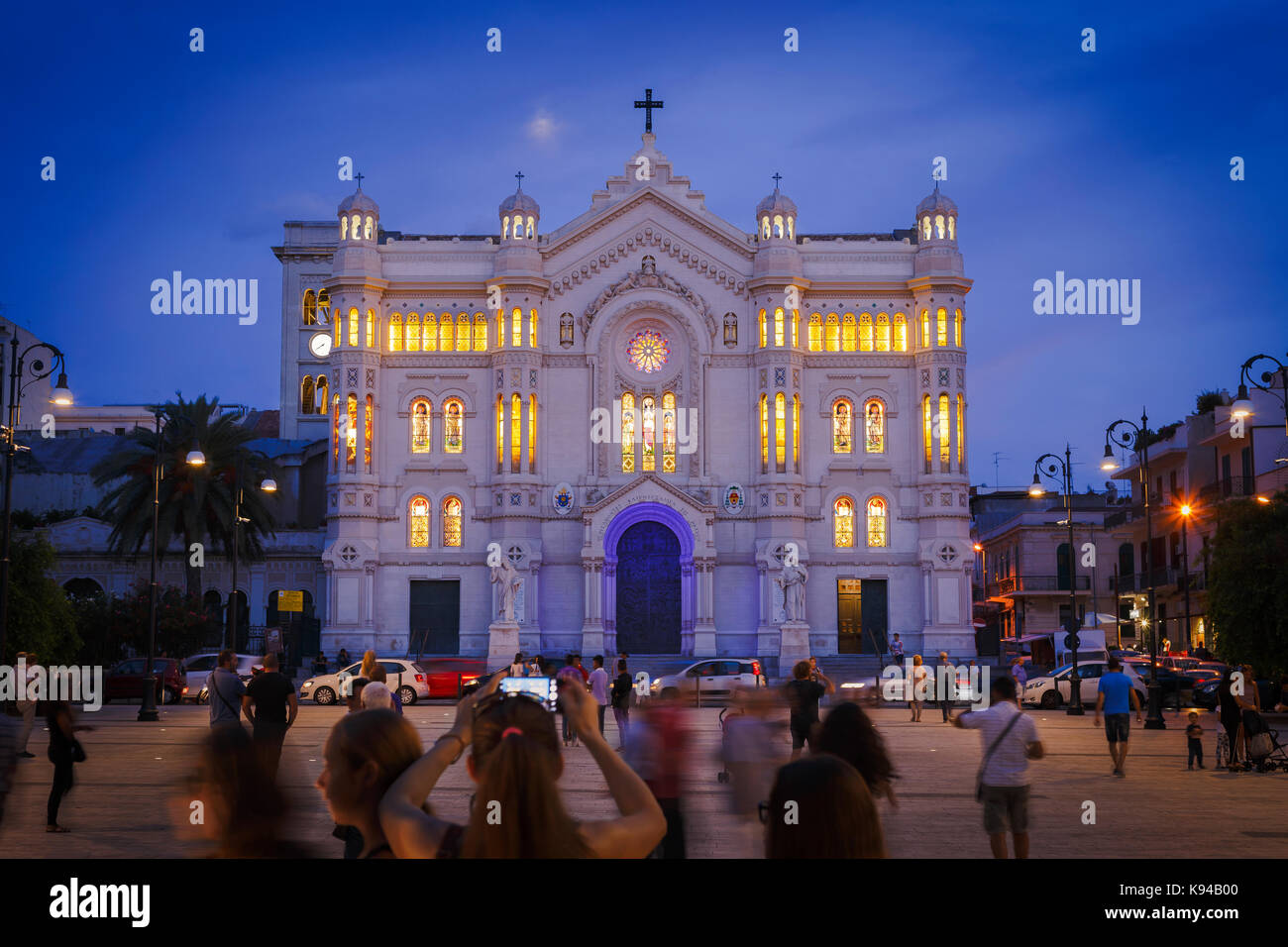 Reggio Calabria Cathedral (Duomo) at Night, Calabria, Italy. Stock Photo