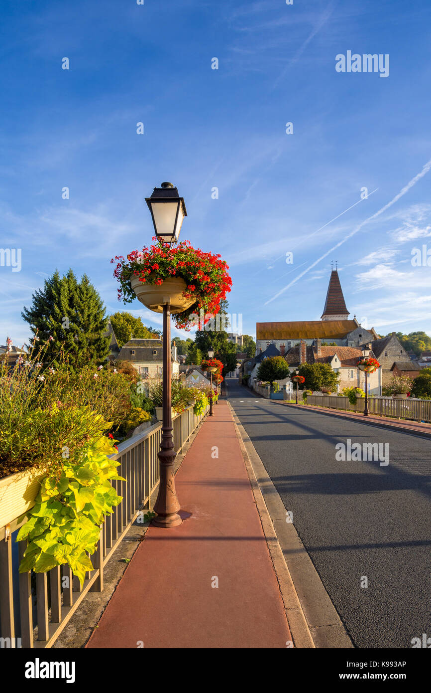 Decorated bridge across river, Preuilly-sur-Claise, France. - Stock Image
