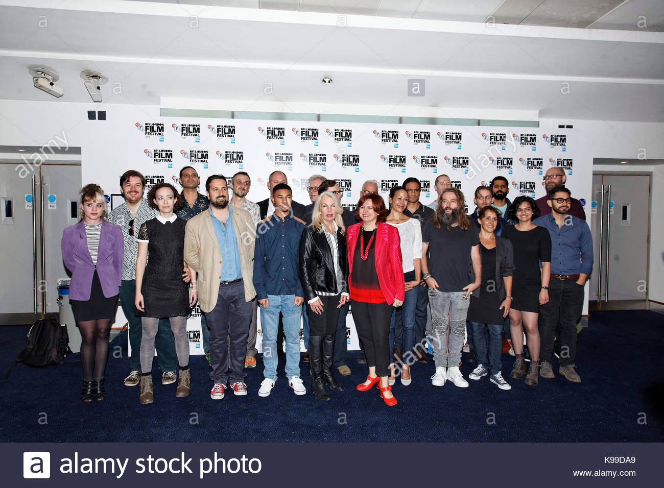 Short Filmmakers with Amanda Nevill (Chief Executive BFI) and Clare Stewart (Festival Director) (both centre). 58th - Stock Image
