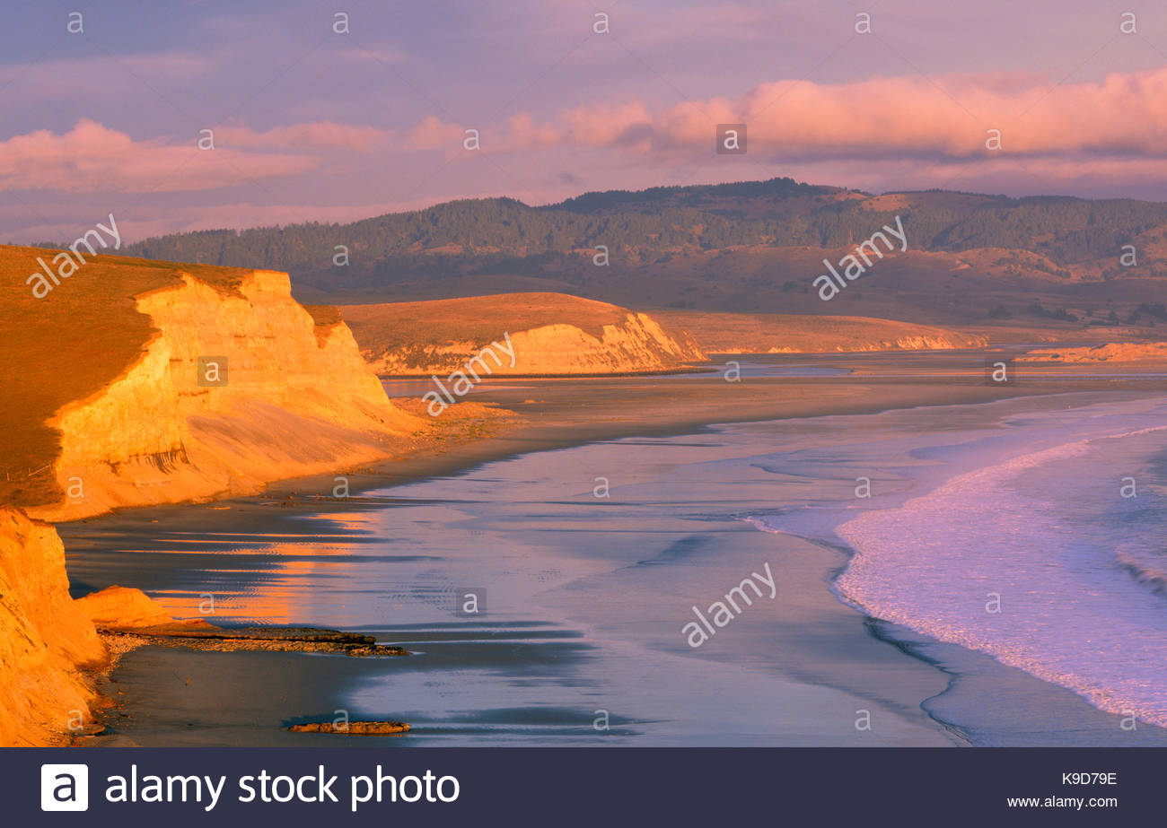 Drakes Beach and the Inverness Ridge at Sunset, Point Reyes National Seashore, California - Stock Image