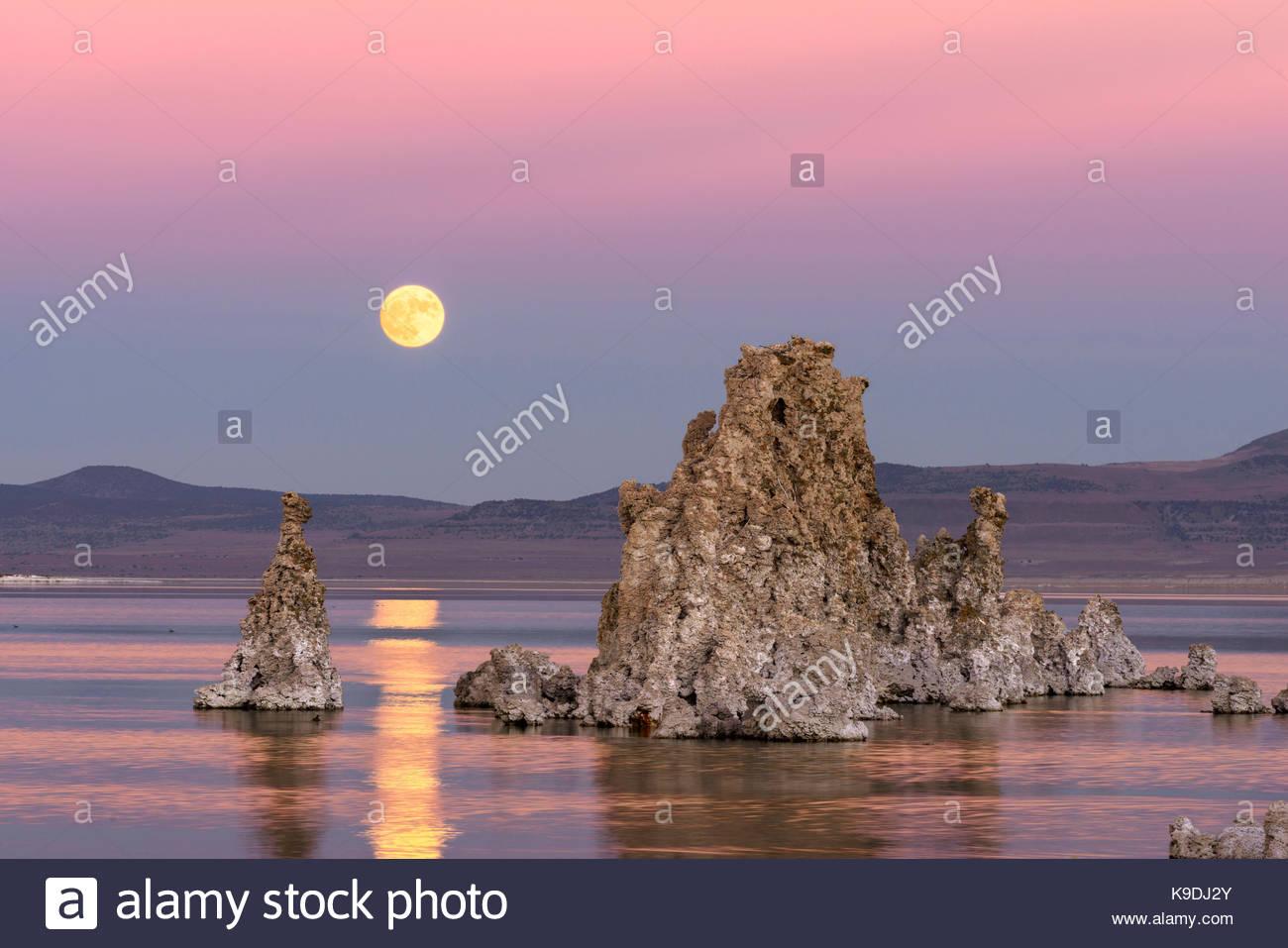 Rising November Full Moon over Mono Lake, Mono Basin National Forest Scenic Area, CA - Stock Image