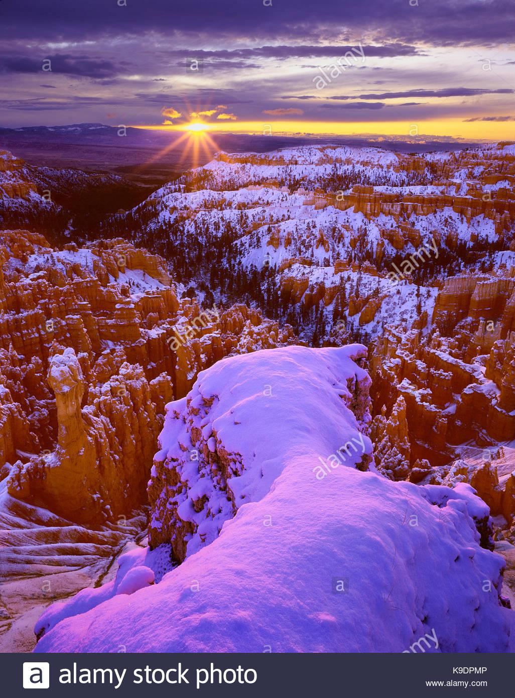 Sunrise near Inspiration Point, Bryce Canyon National Park, Utah - Stock Image