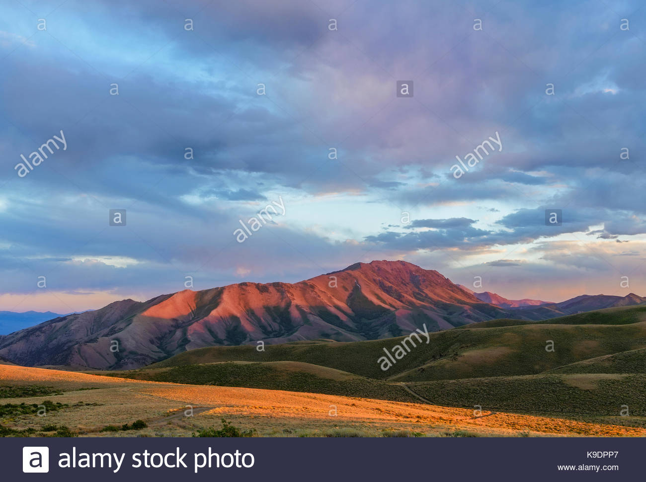 North Toiyabe Peak at Sunset, Lander County, Nevada - Stock Image