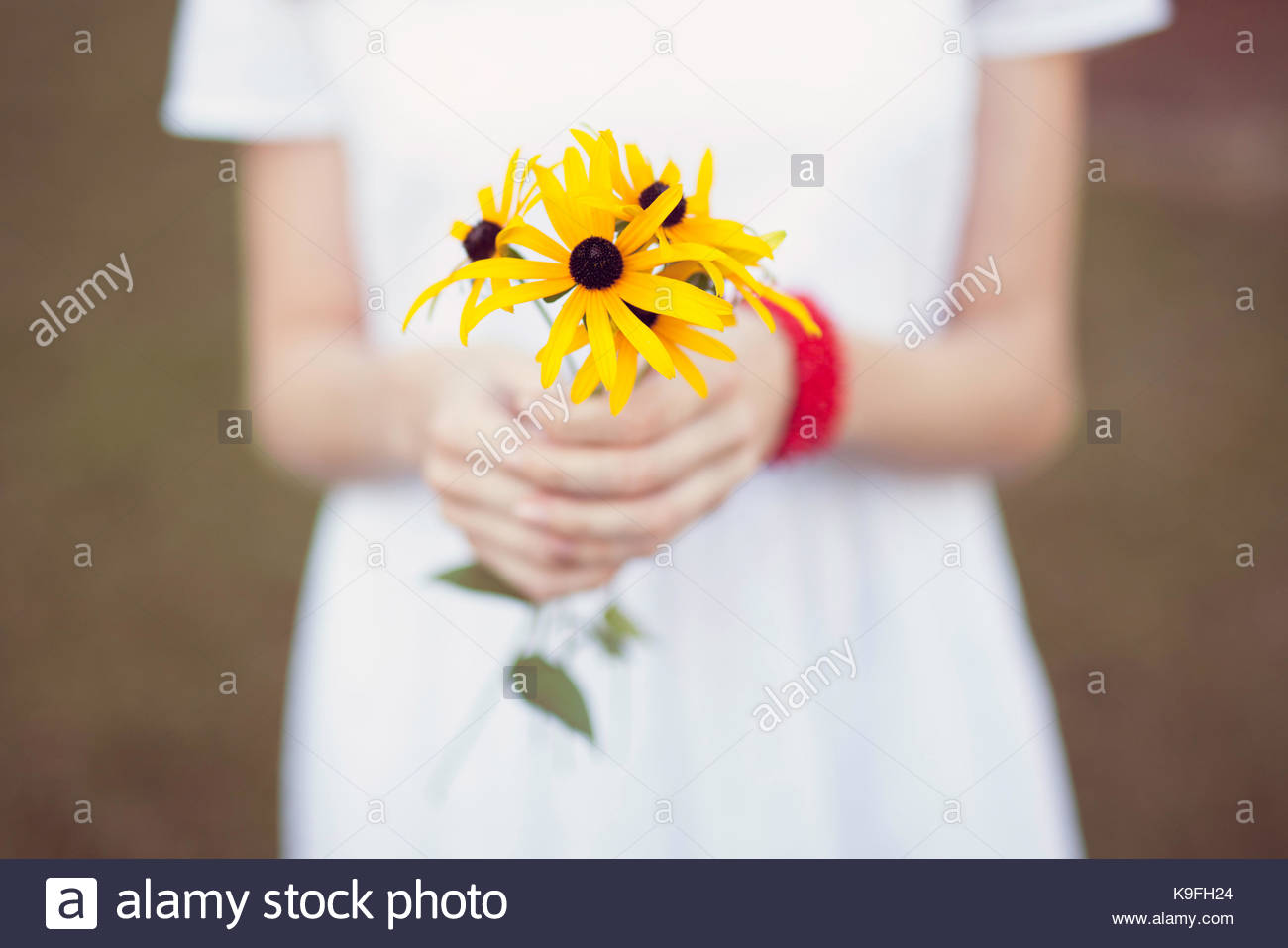Close up of a bunch of flowers held by a girl - Stock Image