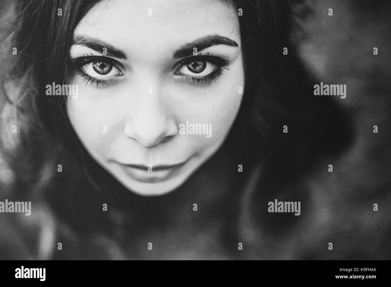 Black and white close up portrait - Stock Image