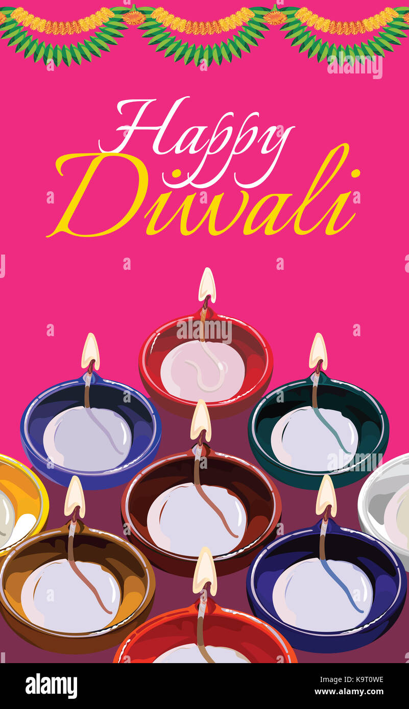 Diwali greeting card illustration using traditional illuminated oil diwali greeting card illustration using traditional illuminated oil clay lamp or diya with happy diwali text m4hsunfo