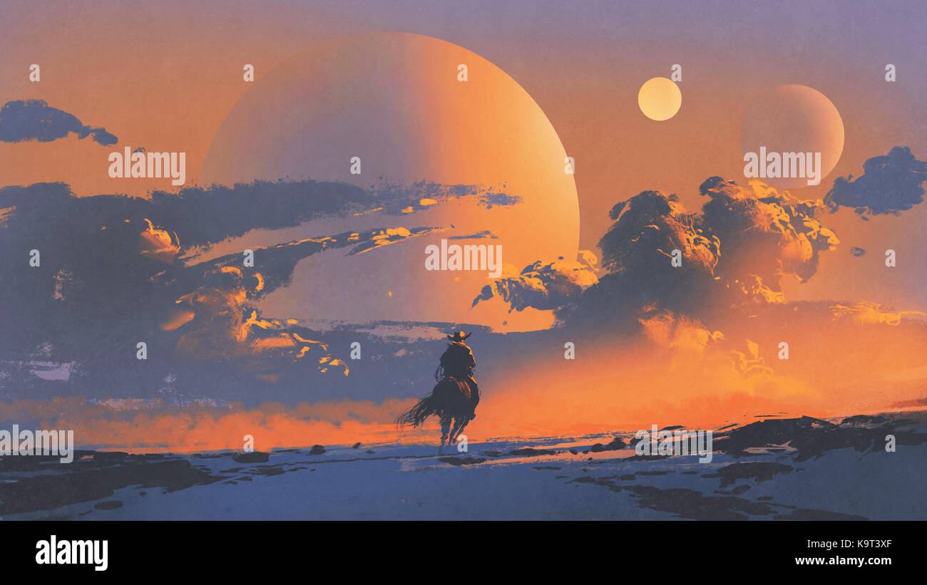 cowboy riding a horse against sunset sky with planets background, digital art style, illustration painting - Stock Image